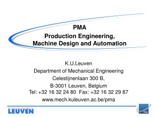 PMA Production Engineering,  Machine Design and Automation