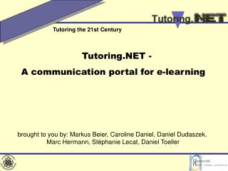 Tutoring.NET -  A communication portal for e-learning