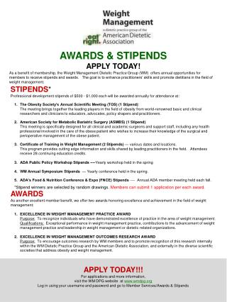 AWARDS & STIPENDS APPLY TODAY!