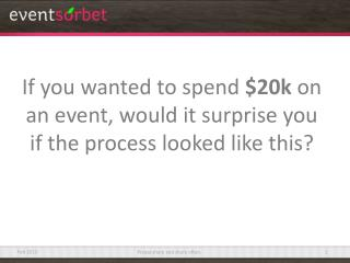 If you wanted to spend  $20k  on an event, would it surprise you if the process looked like this?