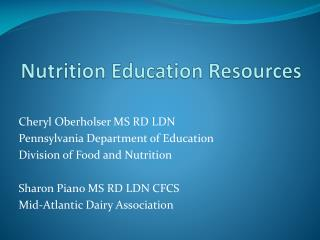 Nutrition Education Resources