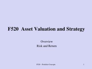F520  Asset Valuation and Strategy
