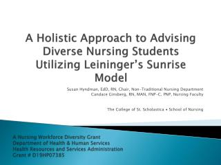 A Holistic Approach to Advising Diverse Nursing Students Utilizing  Leininger's  Sunrise Model