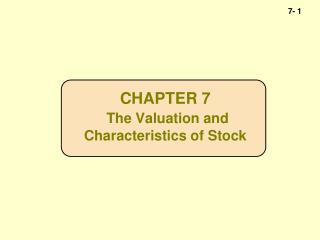 CHAPTER 7 The Valuation and  Characteristics of Stock