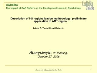 CARERA  The Impact of CAP Reform on the Employment Levels in Rural Areas