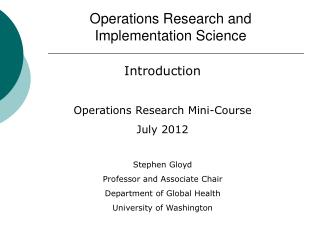 Operations Research and Implementation Science