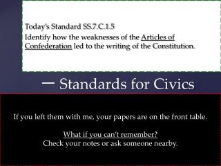 ?  Standards for Civics