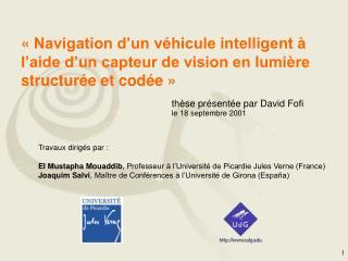 thèse présentée par David Fofi le 18 septembre 2001