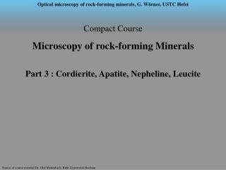 Compact Course  Microscopy of rock-forming Minerals