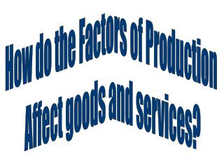 How do the Factors of Production  Affect goods and services?