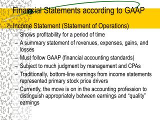 Financial Statements according to GAAP