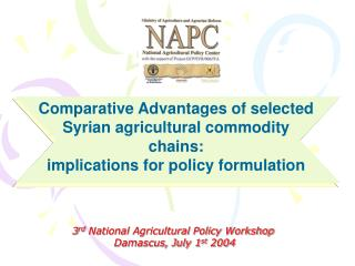 3 rd  National Agricultural Policy Workshop   Damascus, July 1 st  2004