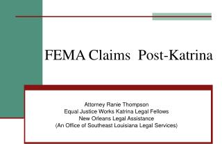 FEMA Claims  Post-Katrina