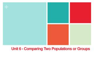 Unit 6 - Comparing Two Populations or Groups