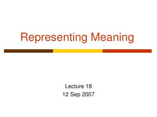 Representing Meaning