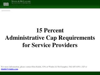 15 Percent  Administrative Cap Requirements  for Service Providers