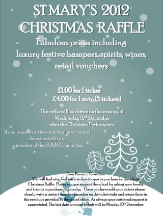 ST MARY'S  2012  CHRISTMAS  RAFFLE Fabulous prizes including