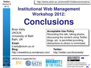 Institutional Web Management Workshop 2012: Conclusions