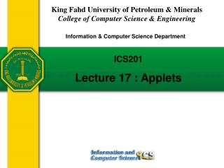 ICS201  Lecture 17 : Applets