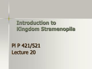 Introduction to  Kingdom Stramenopila