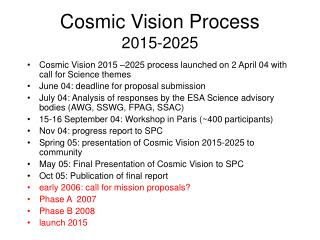 Cosmic Vision Process 2015-2025