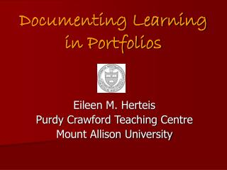 Documenting Learning in Portfolios