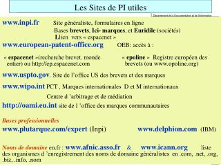 Les Sites de PI utiles