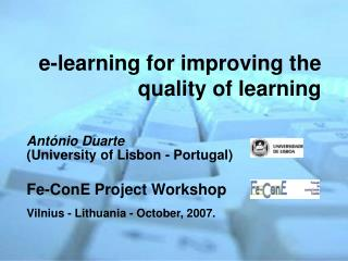 e-learning for improving the quality of learning
