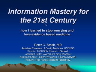 Information Mastery for the 21st Century
