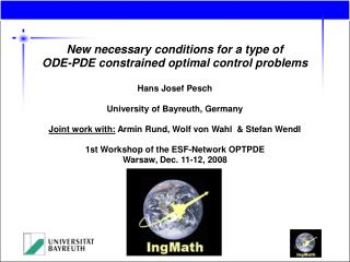 New necessary conditions for a type of ODE-PDE constrained optimal control problems