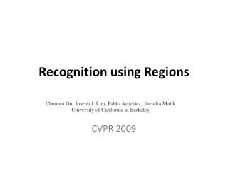 Recognition using Regions