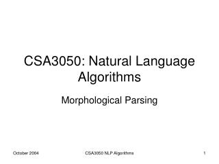 CSA3050: Natural Language Algorithms