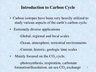 Introduction to Carbon Cycle