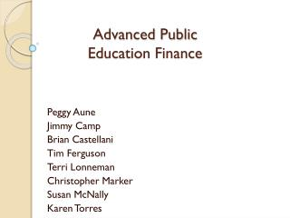 Advanced Public  Education Finance