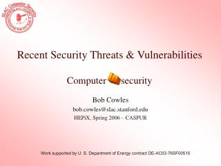 Recent Security Threats & Vulnerabilities Computer      security