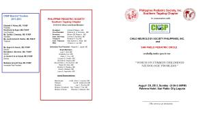 Philippine Pediatric Society, Inc.  Southern Tagalog Chapter In cooperation with