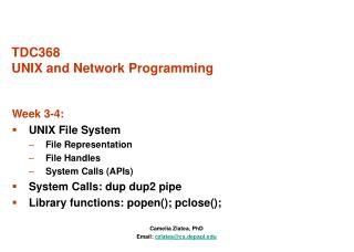 TDC368 UNIX and Network Programming