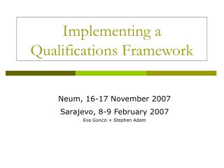 Implementing a Qualifications Framework