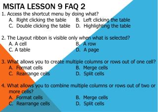 MSITA Lesson 9 FAQ 2