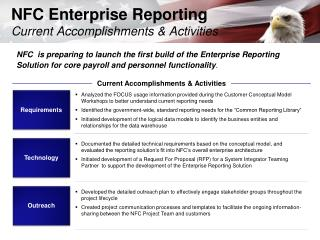 NFC Enterprise Reporting Current Accomplishments & Activities