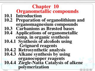 Chapter  10    Organometallic compounds