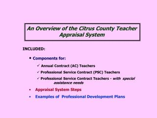 INCLUDED: Components for: Annual Contract (AC) Teachers