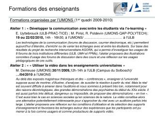 Formations des enseignants