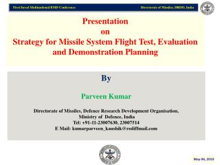 Presentation  on Strategy for Missile System Flight Test, Evaluation and Demonstration Planning