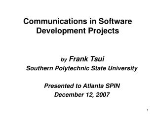 Communications in Software Development Projects