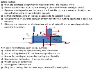 Before starting: there are 2 surfaces along which we may have normal and frictional forces