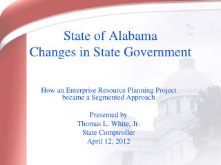 State of Alabama Changes in State Government