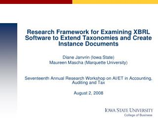 Research Framework for Examining XBRL Software to Extend Taxonomies and Create Instance Documents