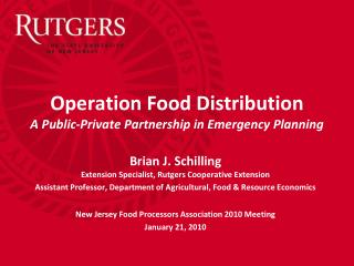 Operation Food Distribution A Public-Private Partnership in Emergency Planning