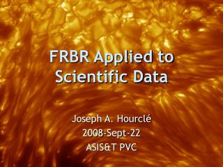 FRBR Applied to Scientific Data